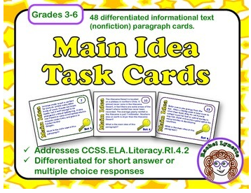 Mastering Main Idea Using Task Cards Simply Skilled In Second Main Idea And Details Foldable Mastering Main Idea Using Task Cards