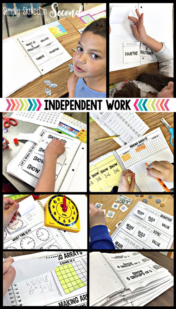 workbook nook, guided math independent work, working independently during guided math,