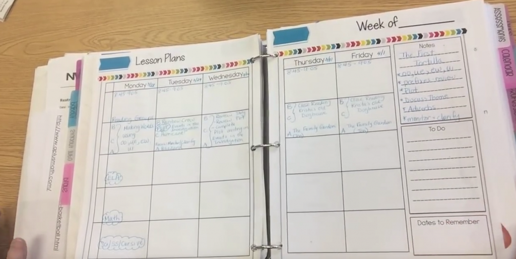 Weekly Guided reading planner