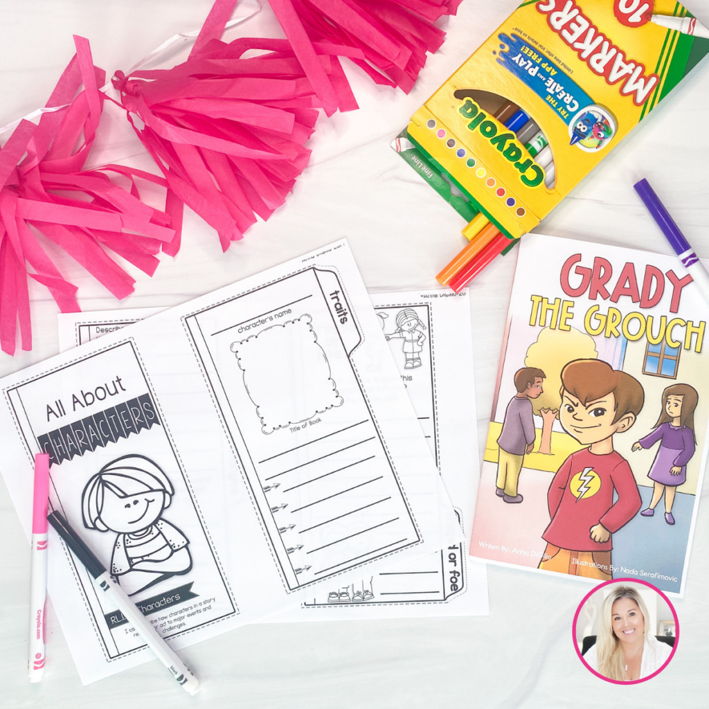 """Pink confetti next to a box of Crayola markers with a few spilling out and the black and pink markers lying over a printed fold out with the title """"All About Character"""" one on side over a cartoon drawing of a little boy where the section to the right with a space for the student to write the character's name, draw a picture of the character, write the title of the book, and list character traits next to the book """"Grady the Grouch"""" with a cartoon picture of a smirking boy"""