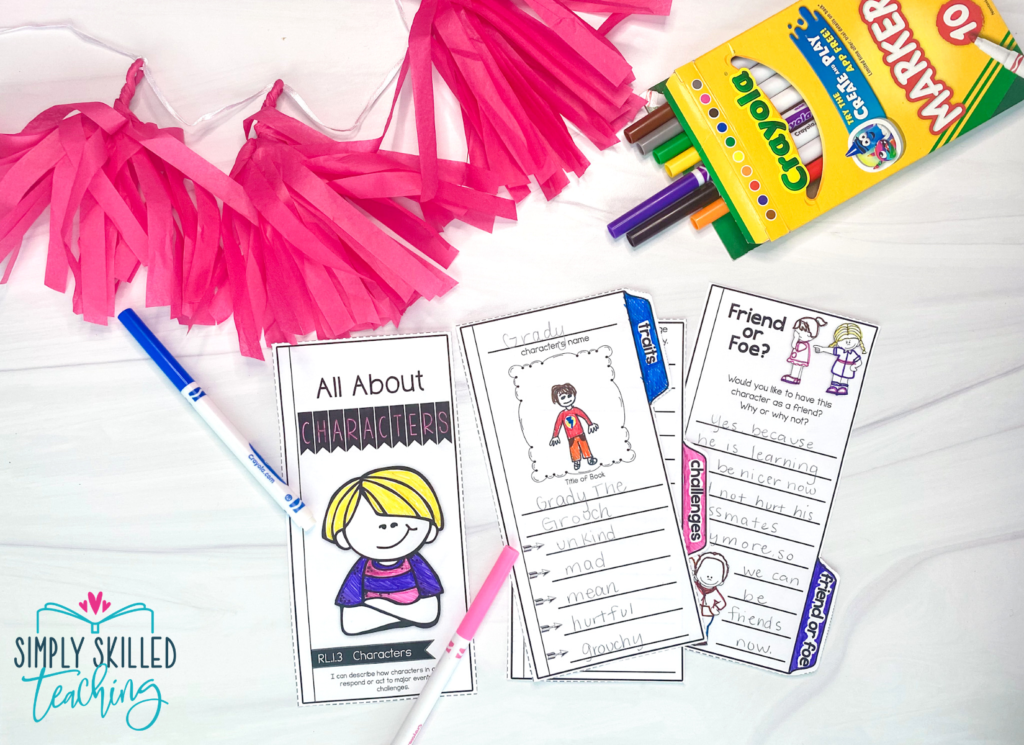"""Pink confetti next to a box of 10 Crayola markers with some spilling out over three sections of a trifold with the first section that says """"All About Characters"""" over a picture of a cartoon blonde boy next to a second section where a student has written """"Grady"""" over the spot for """"character's name"""" and drawn a picture of the character, Grady. The student has also written """"Grady the Grouch"""" under """"Title of the Book"""" with character traits listed: """"unkind,"""" """"mad,"""" """"mean,"""" """"hurtful"""" and """"grouchy. The third section says """"Friend or Foe"""" with a drawing of  a little girl pointing at another little girl who is crying. At the top of the page is the prompt, """"Would you like to have the character as a friend? Why or why not?"""" under which a student has written """"yes because he is learning to be nicer now"""" and the answer goes on, but the answer is covered up by the section section"""
