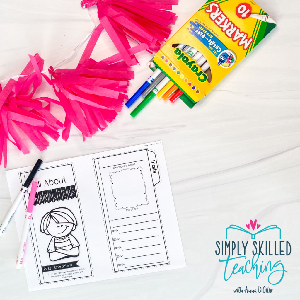 """Pink confetti next to a box of Crayola markers with a few spilling out and the black and pink markers lying over a printed fold out with the title """"All About Character"""" one on side over a cartoon drawing of a little boy where the section to the right with a space for the student to write the character's name, draw a picture of the character, write the title of the book, and list character traits"""